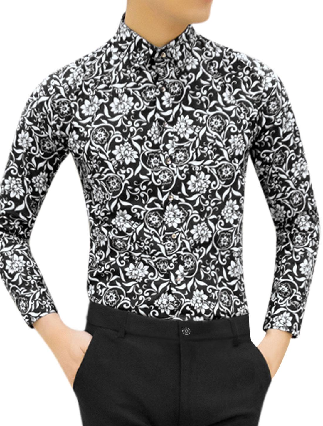 Men Long Sleeve Flower Print Button Down Casual Shirt Black M