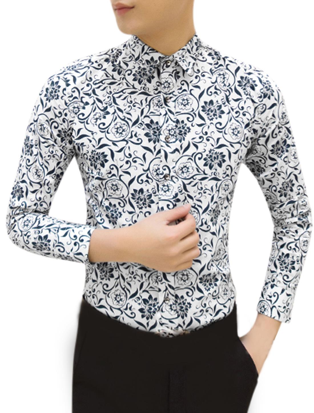 Men Long Sleeve Point Collar Floral Print Slim Fit Shirt White M