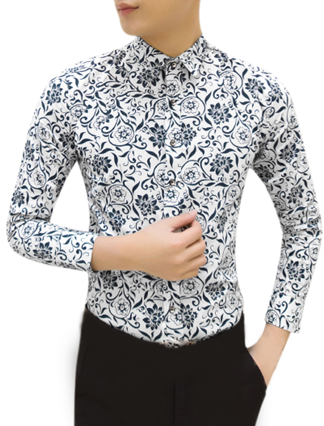 Men Long Sleeve Point Collar Floral Print Casual Shirts M