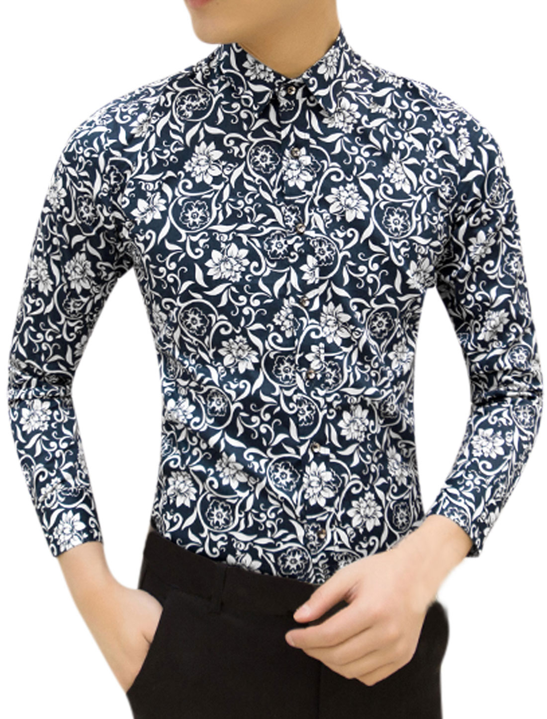 Men Point Collar Floral Print Button Down Slim Fit Shirt Navy Blue M