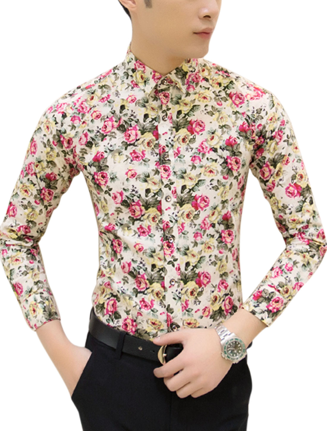 Man Floral Prints Point Collar Single Breasted Slim Fit Shirt White M