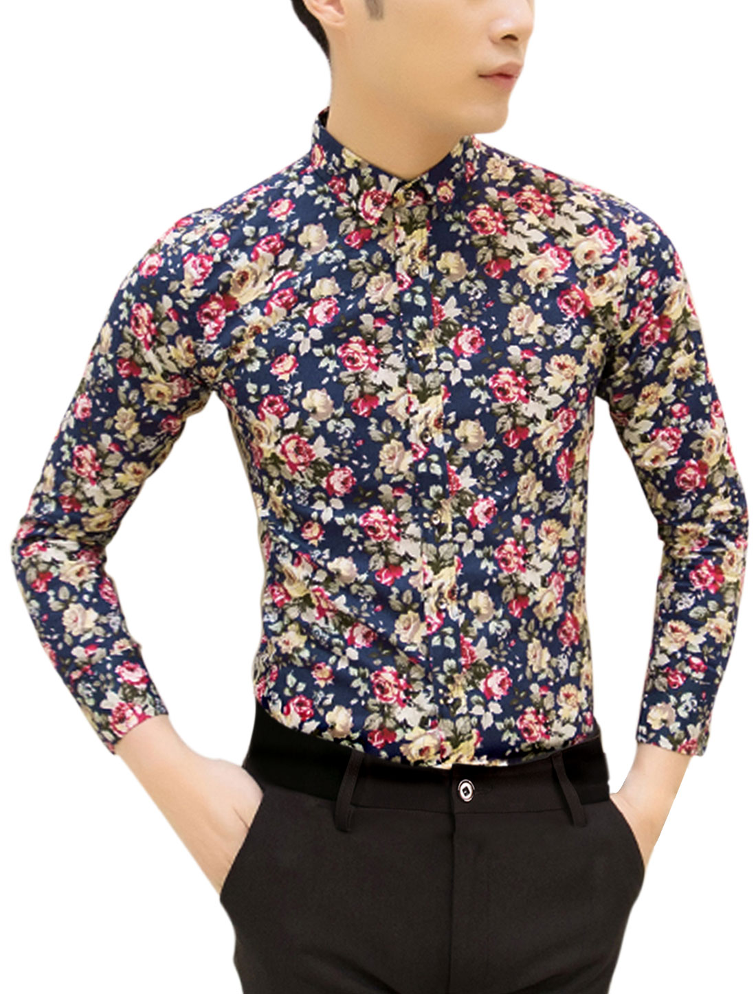 Man Floral Prints Long Sleeves Point Collar Shirt Navy Blue M