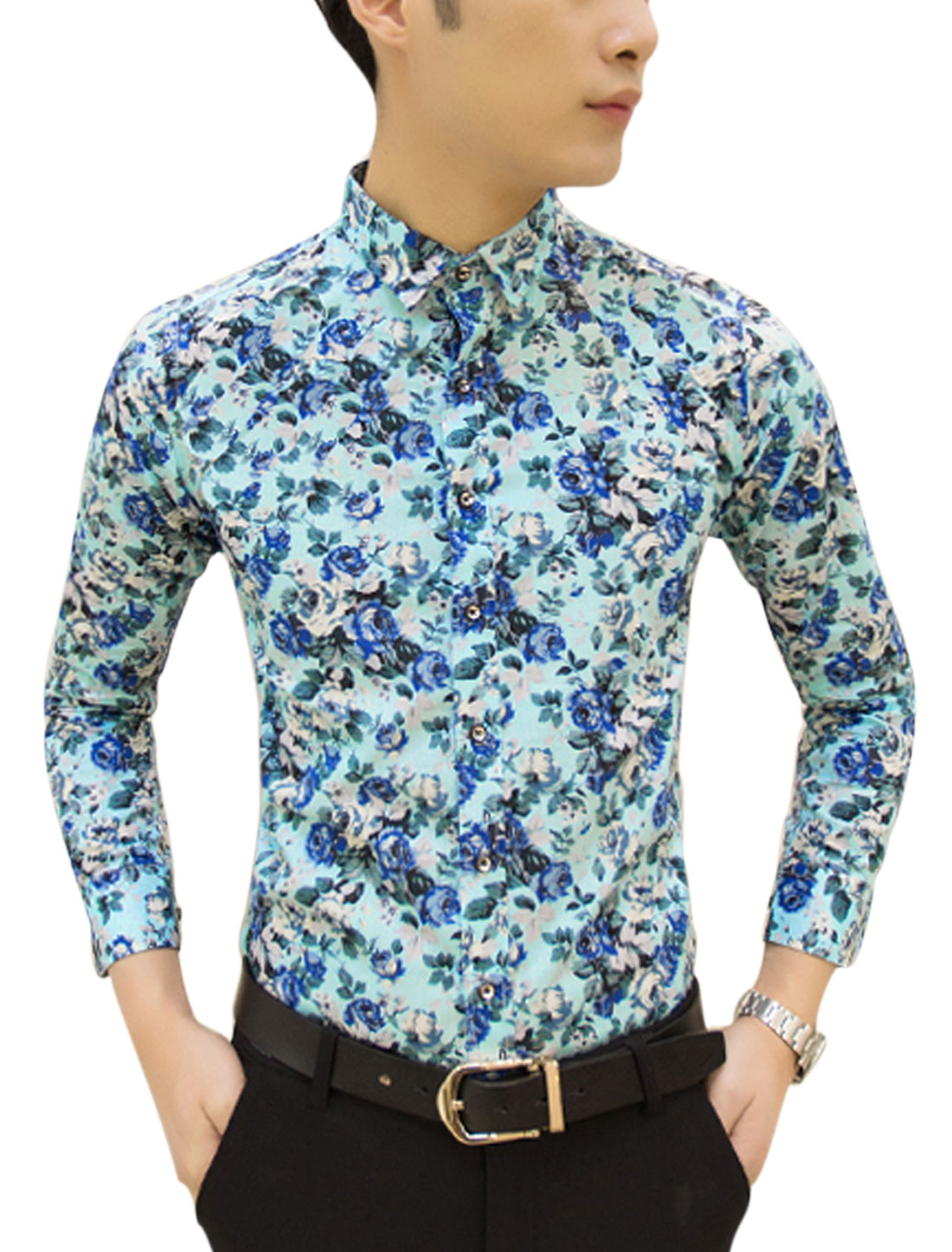 Man Floral Prints Long Sleeves Slim Fit Casual Shirt Light Blue M