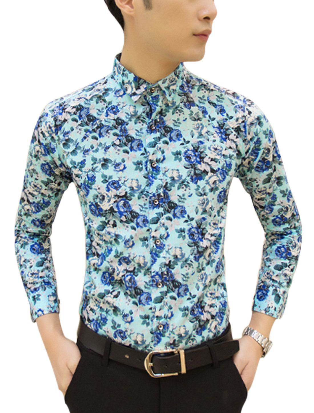 Man Floral Prints Long Sleeves Slim Fit Casual Shirt Light Blue M