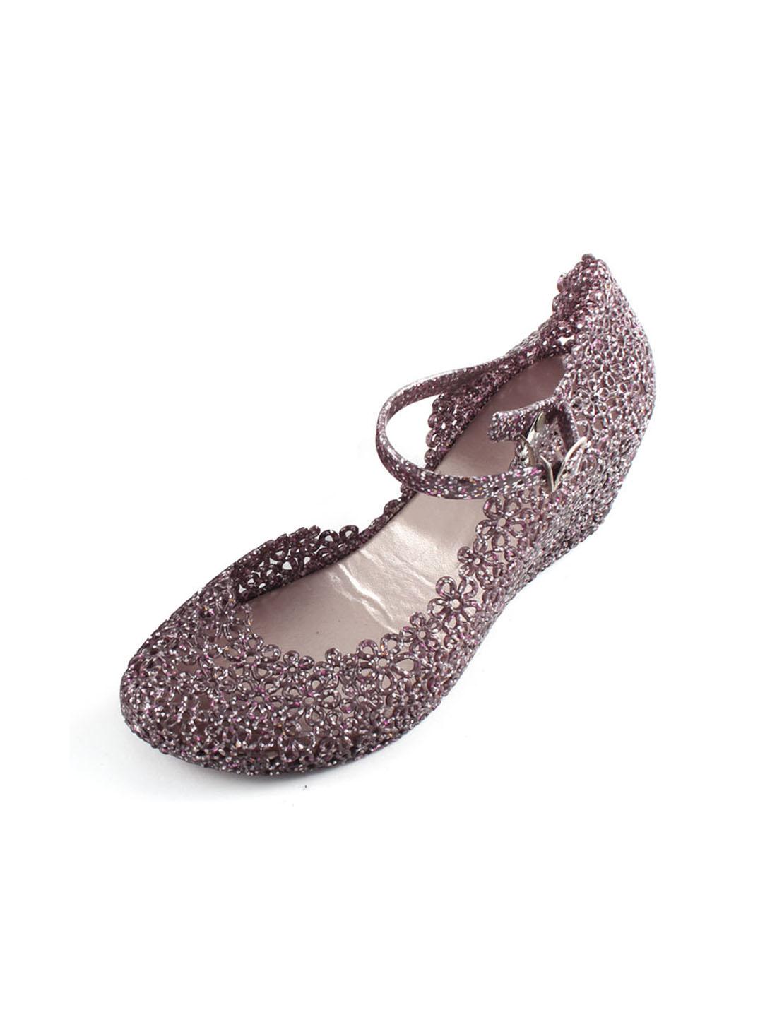 Ladies Floral Decor Hollow Out Strappy Slipsole Sandals Shoes Dark Purple Pair US 4