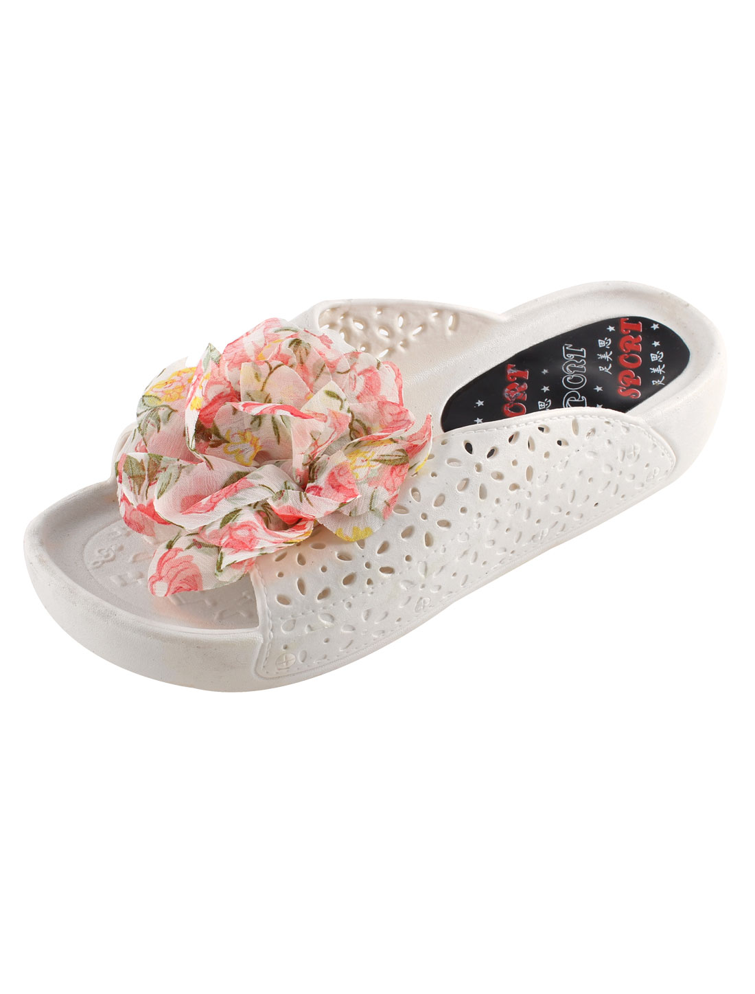 Lady Flower Decor Hollow Out Open Toe Anti-slip Slippers US 6.5 Pair