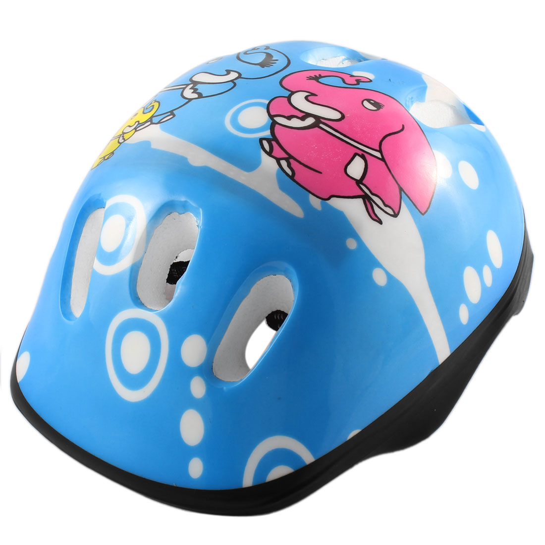Cycling Skating Elephant Printed Protective Student Helmet Blue Fushcia
