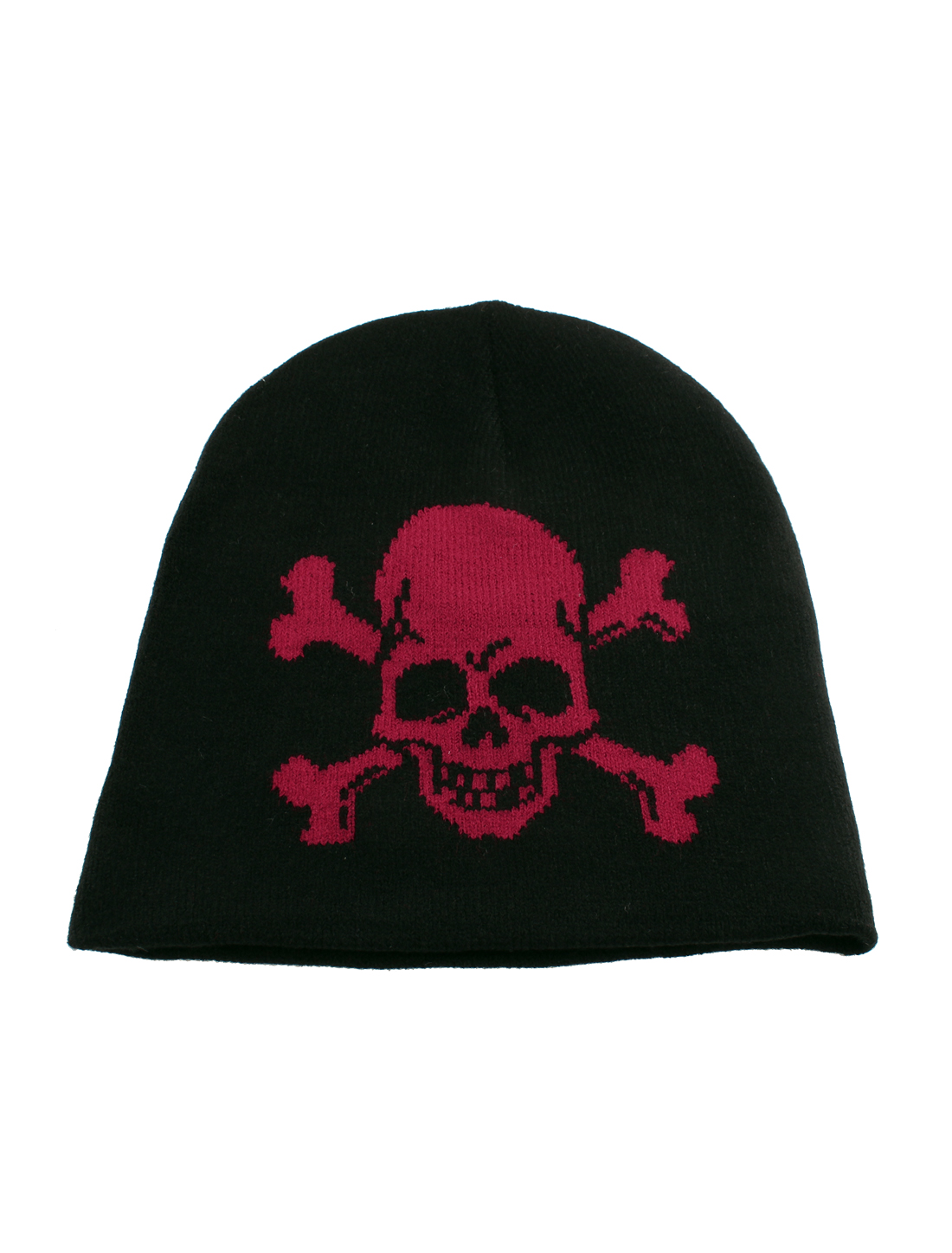 Men Women Skull Printed Winter Warm Knitted Stretchy Beanie Cap Hat Black Red