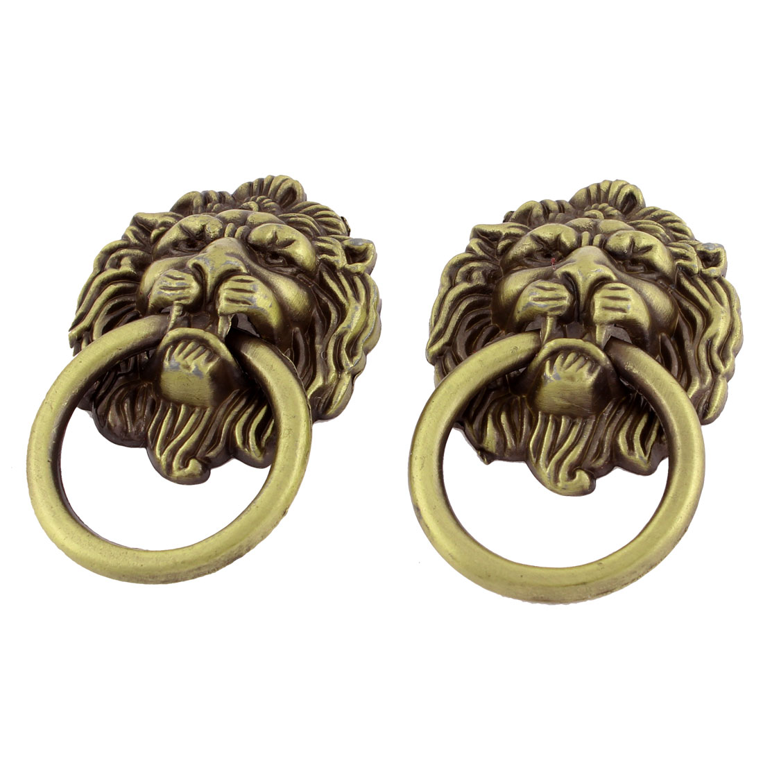 2 Pcs Bronze Tone Lion Head Antique Style Drawer Ring Pull Handle Knob
