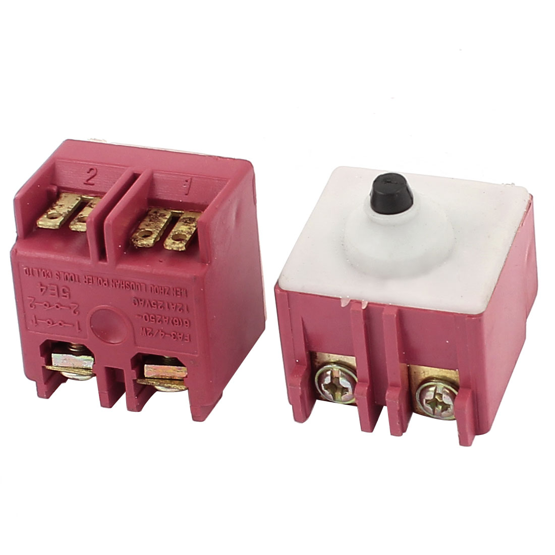 2 Pcs 250V 6A SPDT Momentary Square Self-locking Push Button Switch
