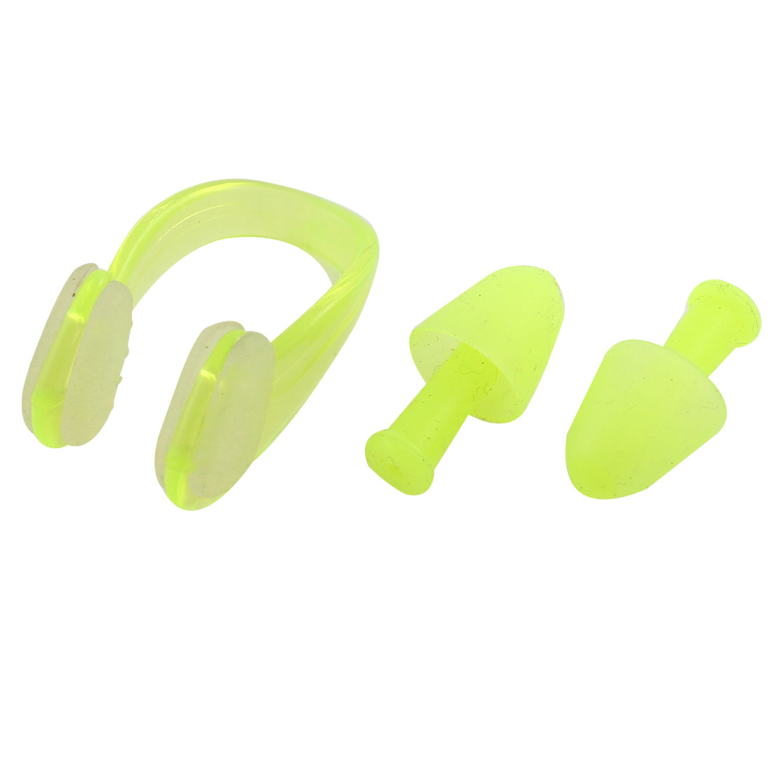 Water Swimming Sporting Protector Tool Soft Earplugs + Nose Clip Yellow 2 in 1