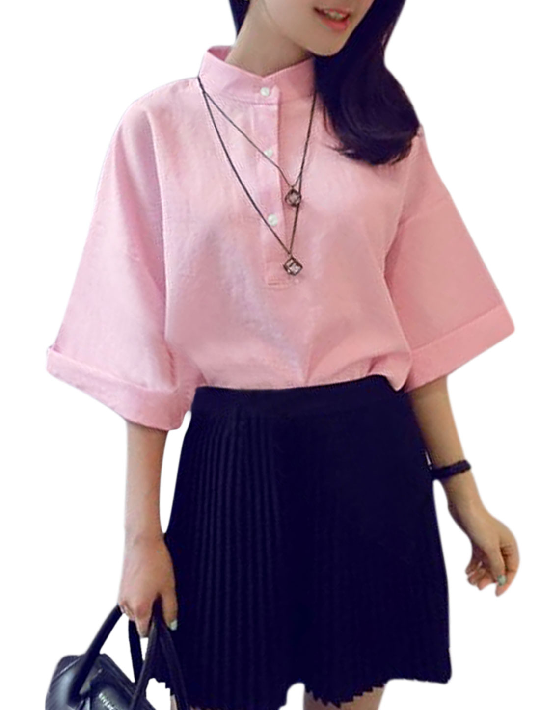 Ladies 3/4 Sleeve Stand Collar Loose Casual Blouse Pink XS