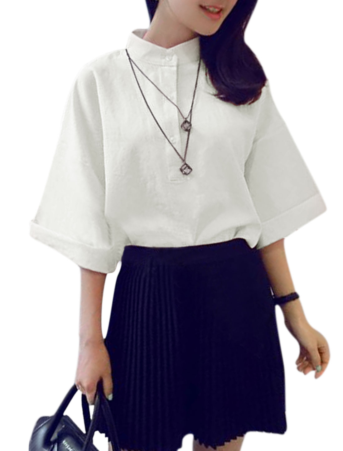 Women 3/4 Sleeve Stand Collar Loose Casual Shirt White XS