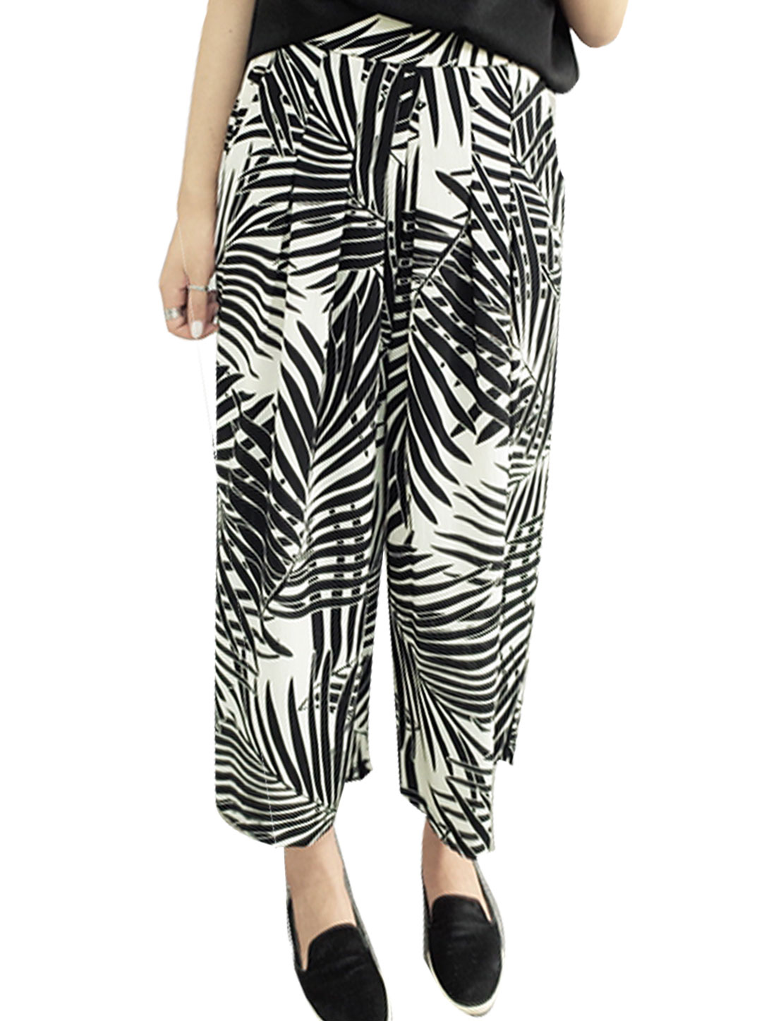 Women Elastic Waist Leaves Prints Cropped Wide Leg Pants Black M