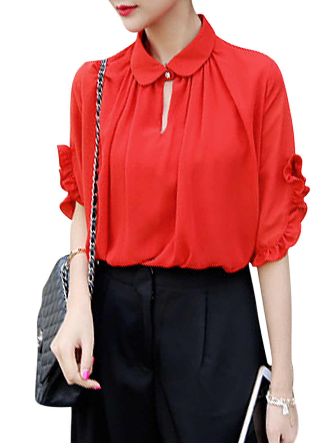 Women Point Collar Elbow Sleeves Flouncing Cuffs Chiffon Shirts Red XS