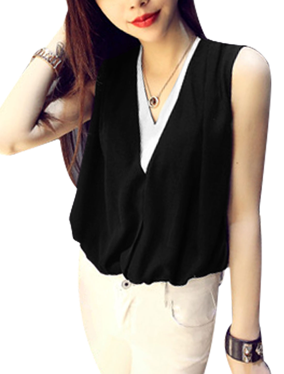 Women V Neck Sleeveless Layered Contrast Color Casual Tops Black S