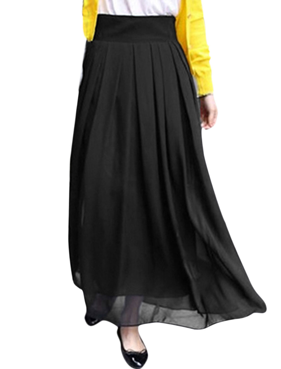 Women Mid Rise Ruched Fully Lined Casual Summer Maxi Skirt Black M