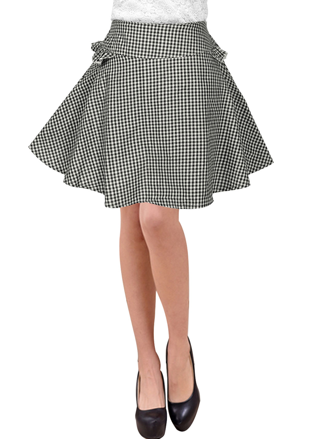 Ladies Mid Rise Elastic Waist Layered Unlined Casual Plaid Skirt Black XS