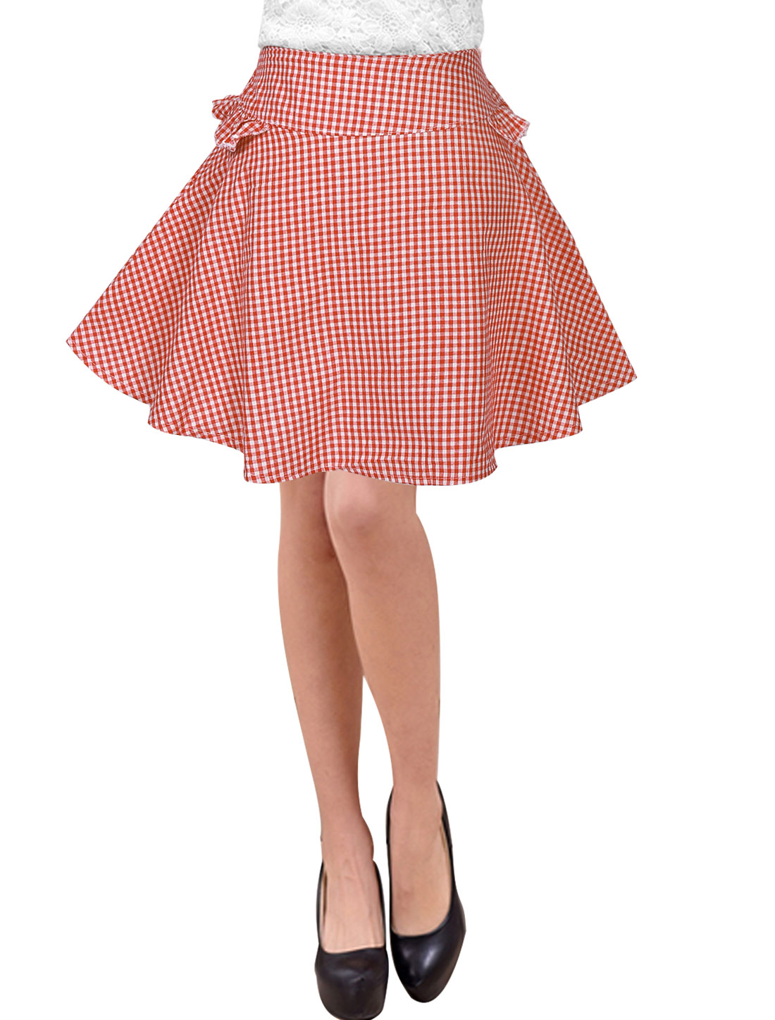 Women Mid Rise Elastic Waist Unlined Casual Plaid Skirts Red XS