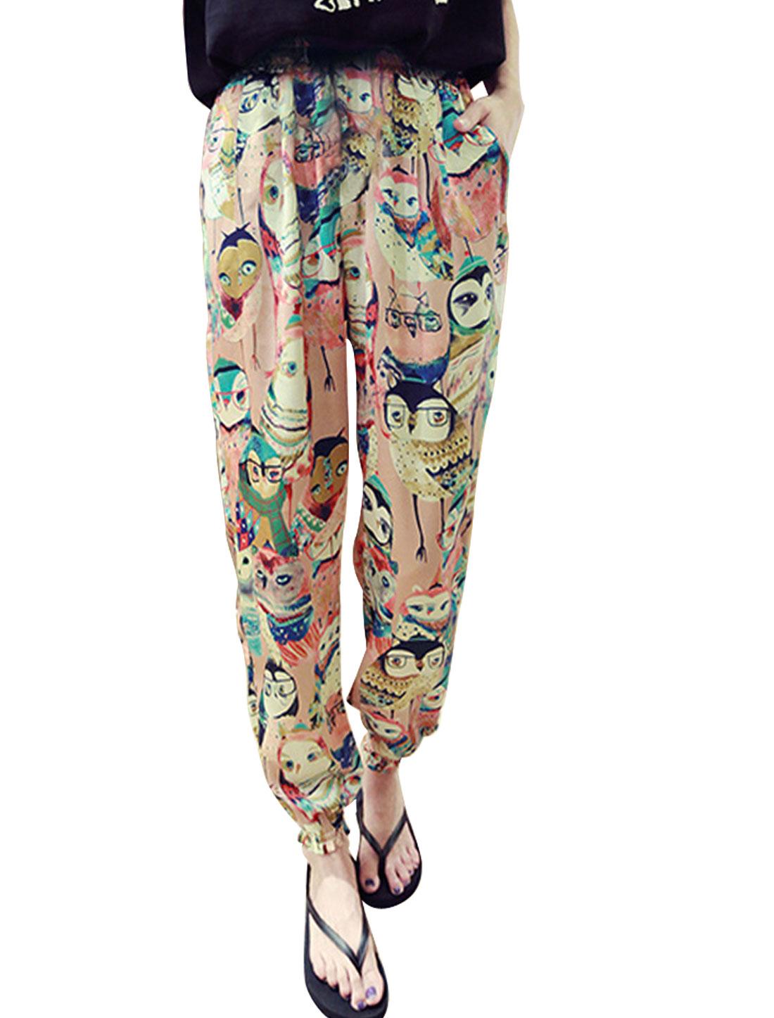 Women Elastic Waist Owl Prints Mid Rise Casual Pants Pale Pink XS