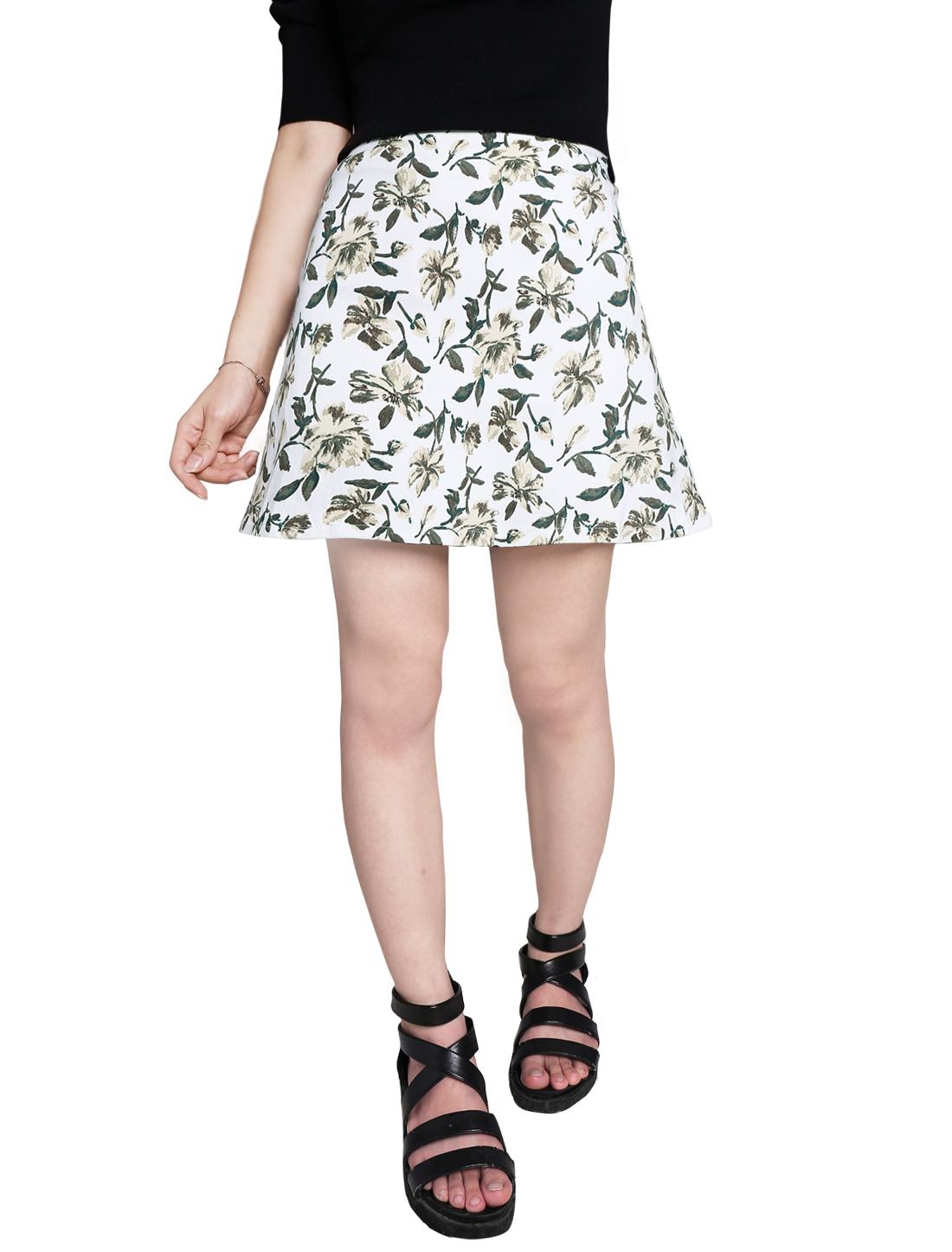 Women Elastic Waist Zip Closure Floral Prints A-Line Skirts White S