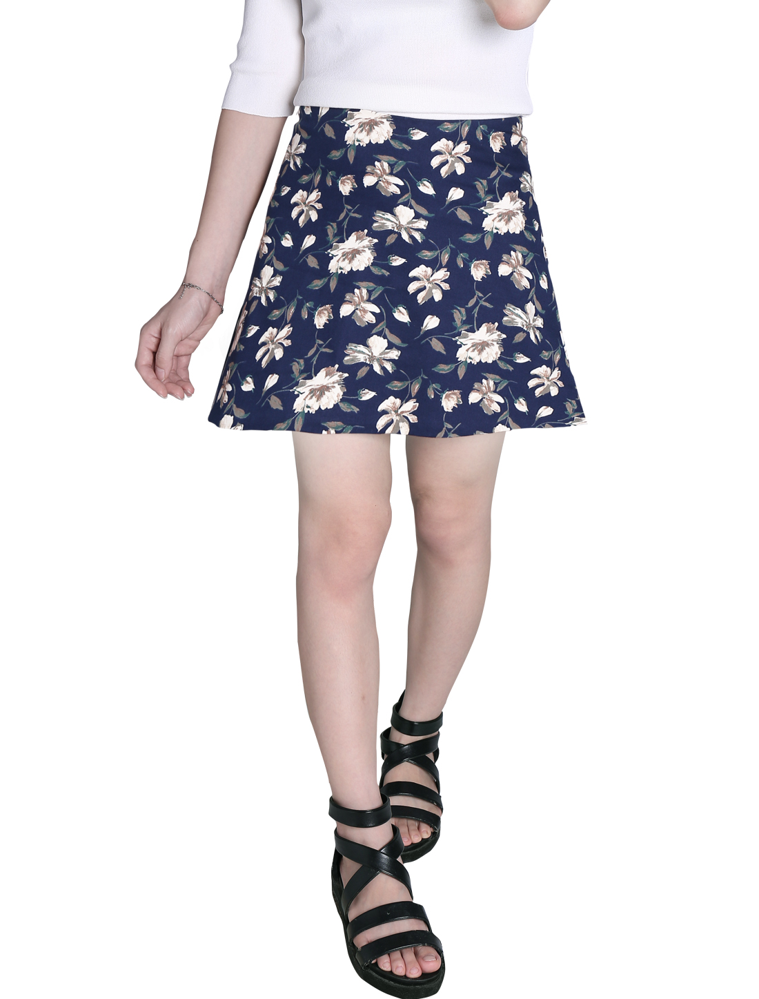 Ladies Flower Prints Full Lined Elastic Waist Mini Skirts Navy Blue S