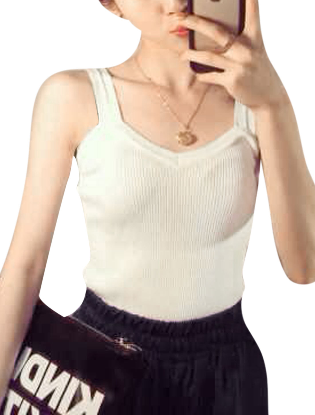 Women Straps Sweetheart Neckline Sleeveless Knitted Tank Tops White XS