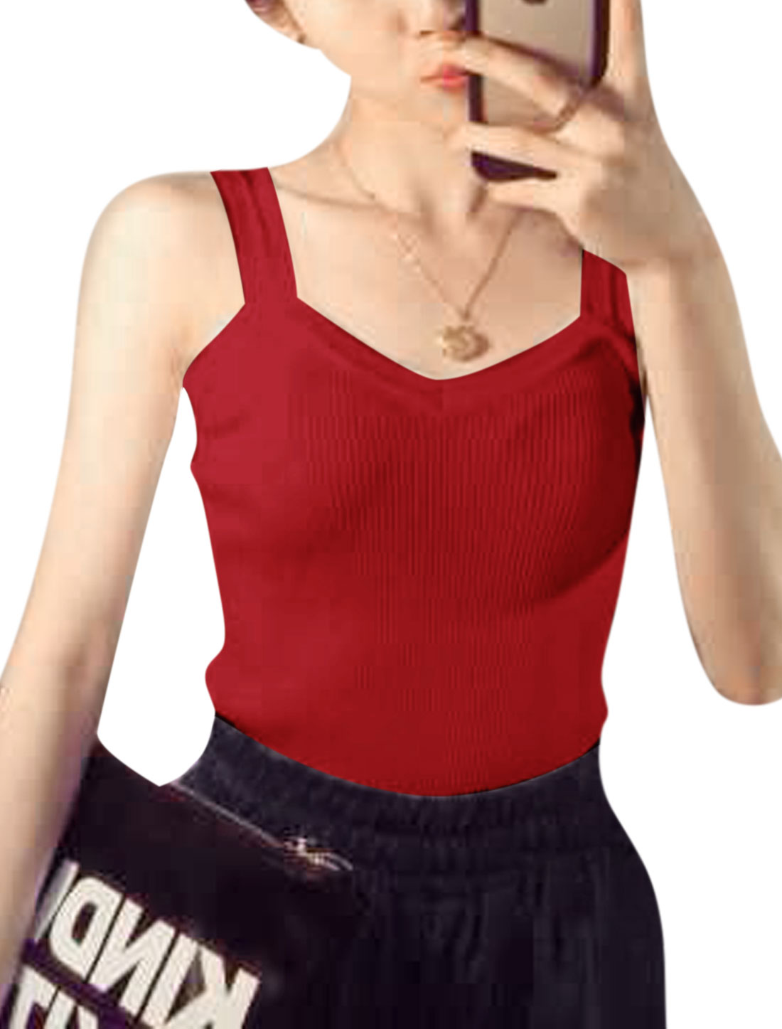 Women Sweetheart Neckline Sleeveless Stretchy Knit Tank Tops Red XS