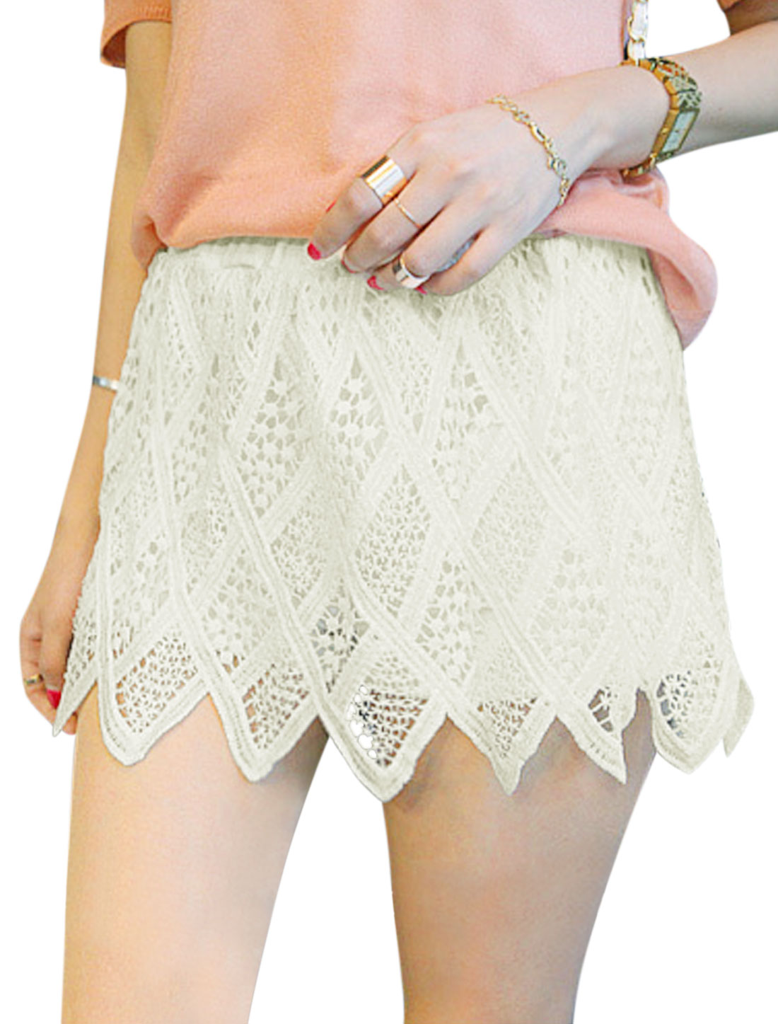 Woman Hollow Out Mid Rise Fully Lined Sawtooth Hem Skort White XS