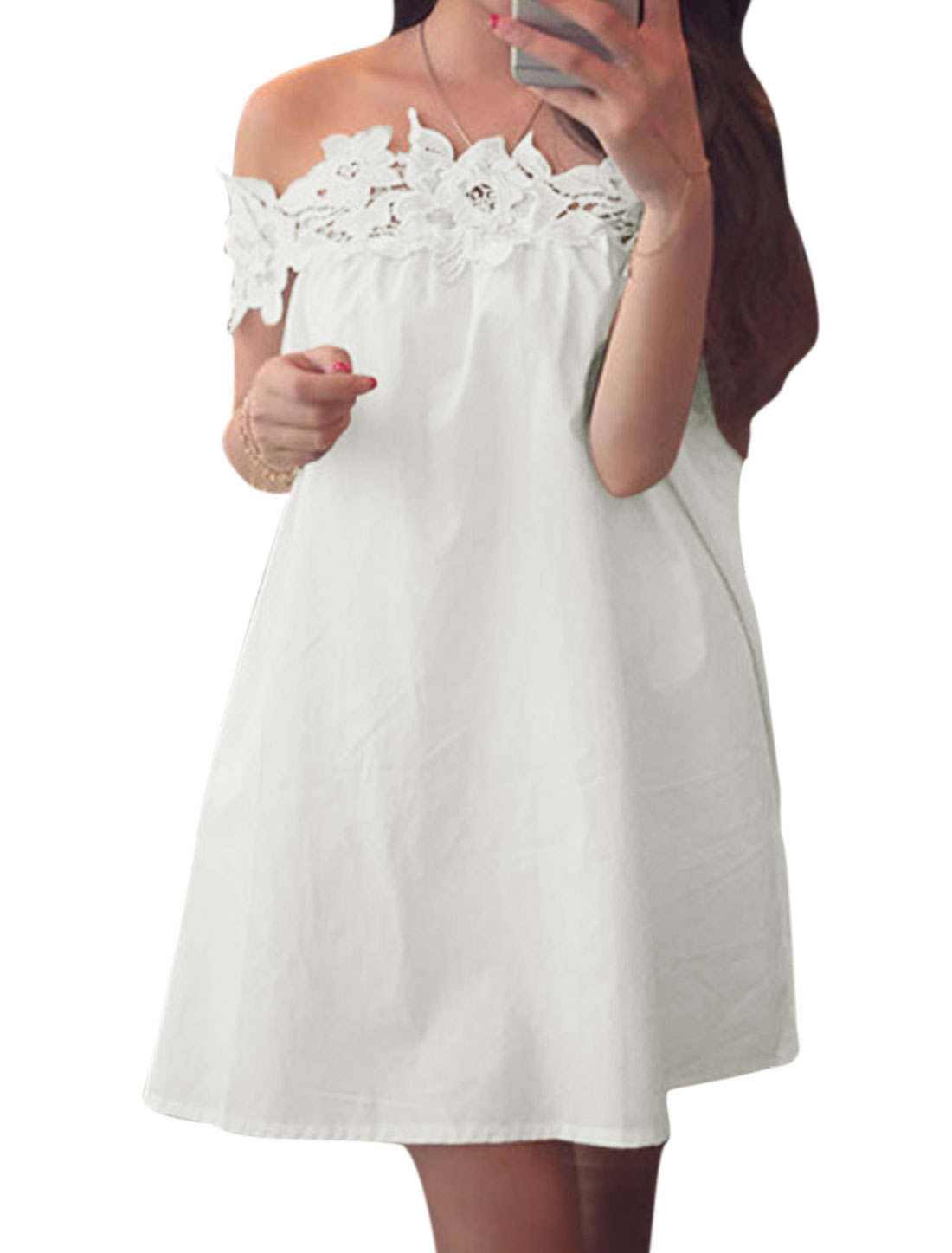Women Off Shoulder Crochet Panel Unlined A-Line Dress White S