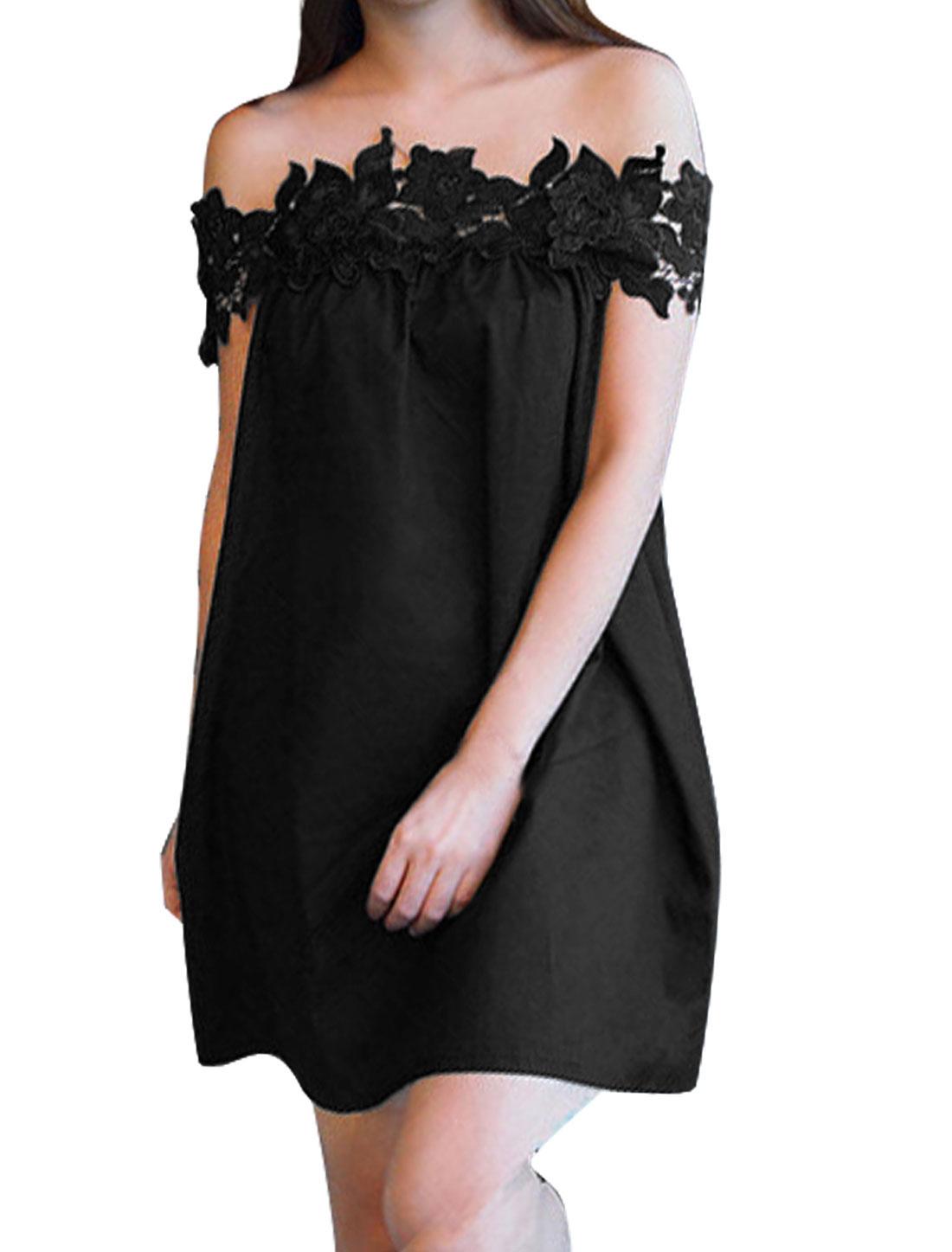 Ladies Off Shoulder Crochet Unlined Casual Dresses Black S