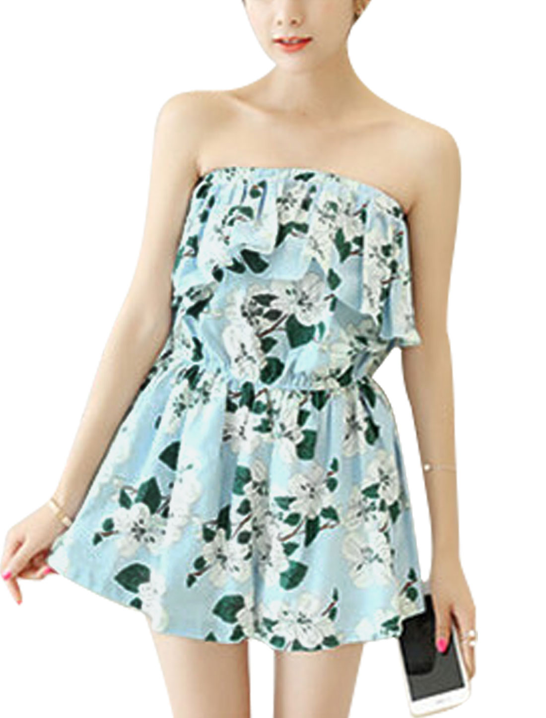 Woman Floral Prints Strapless Elastic Waist Chiffon Playsuit Light Blue XS