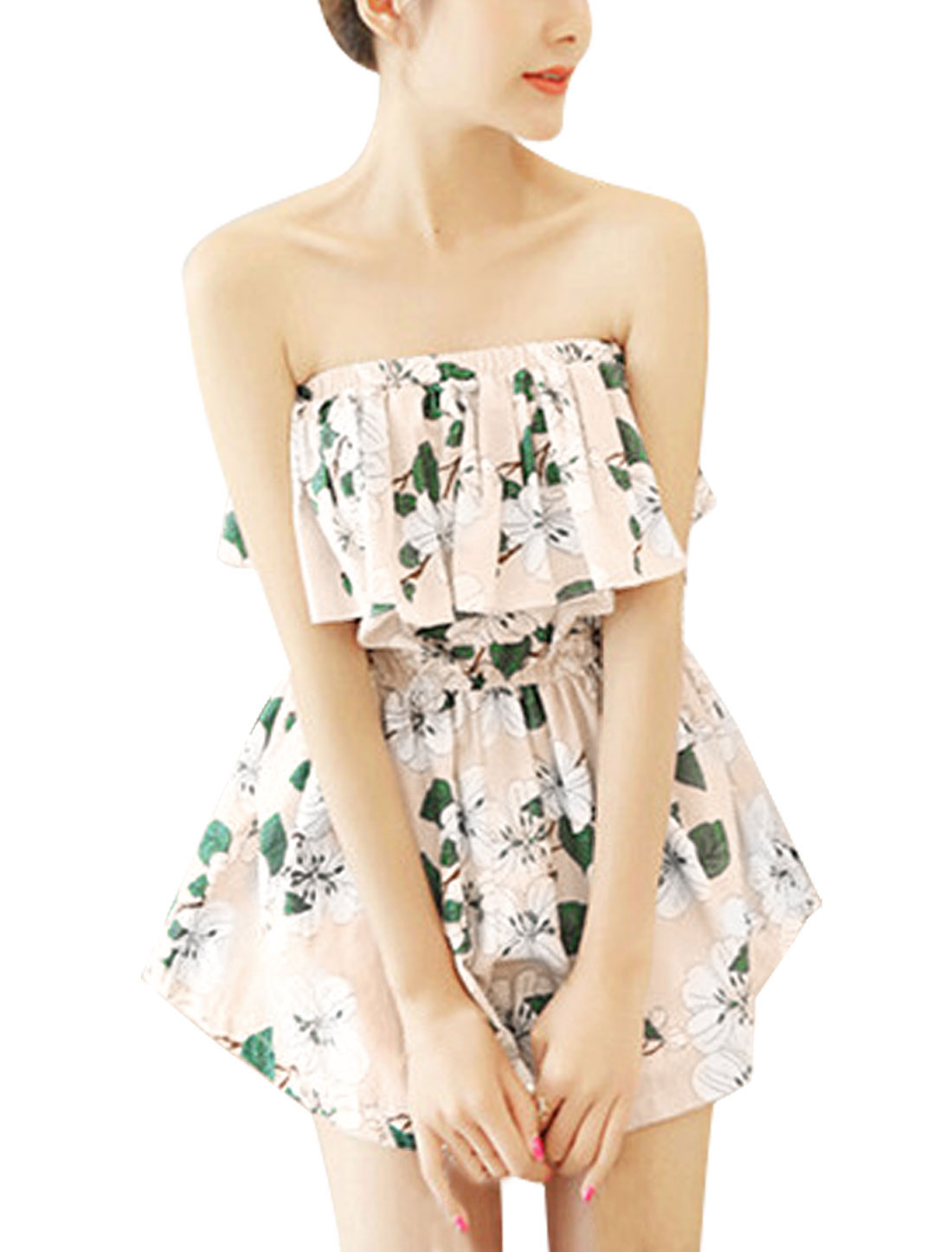 Woman Floral Prints Strapless Flouncing Upper Unlined Chiffon Playsuit Light Pink XS