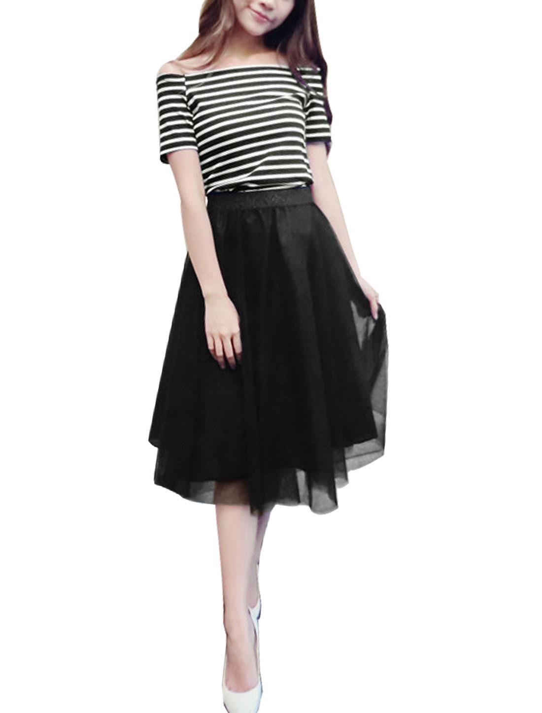 Women Stripes Off Shoulder Tops w Elatic Waist Mesh Skirts White Black S