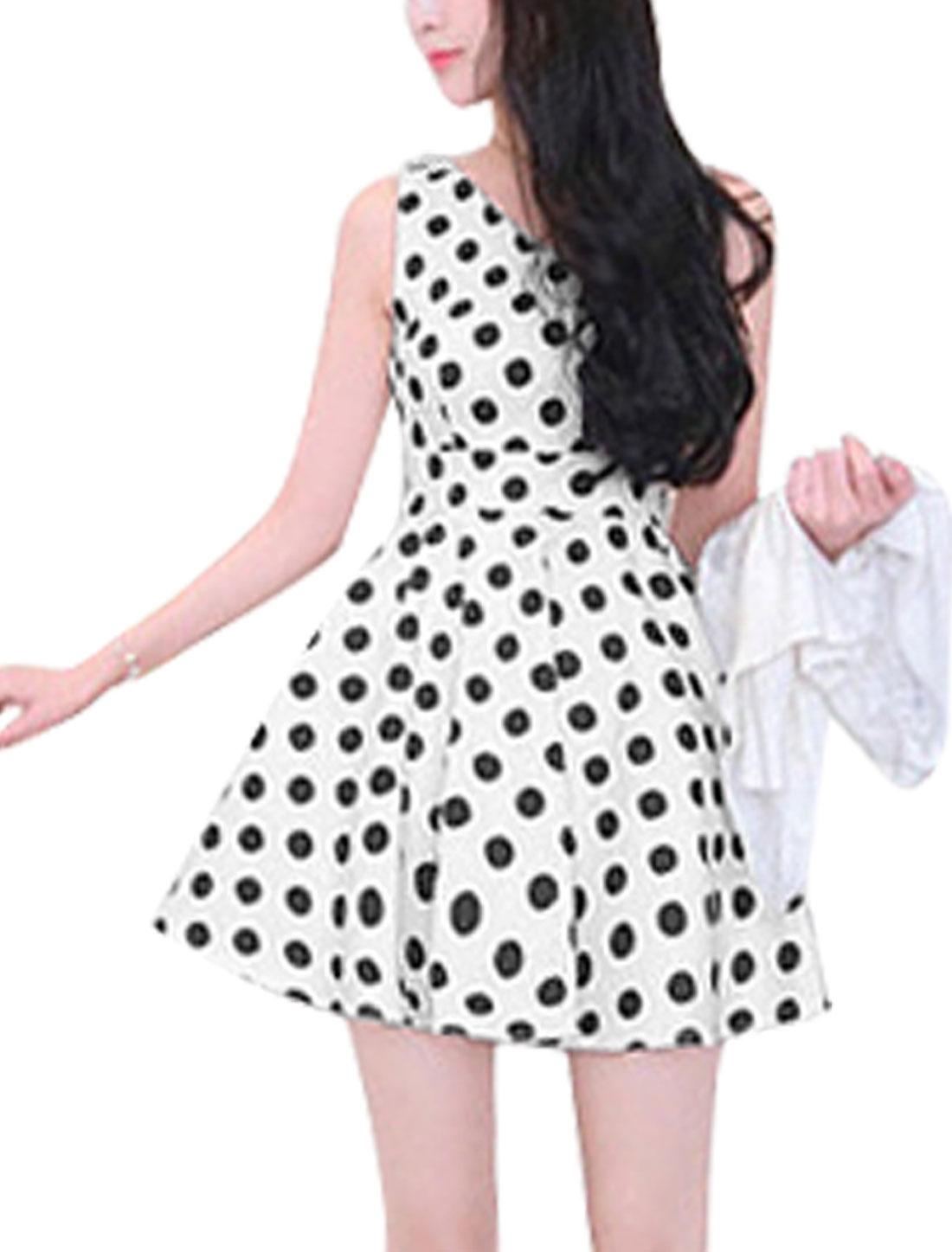 Women V Neck Dots Sleeveless Buttons Decor Back Skater Dress White S