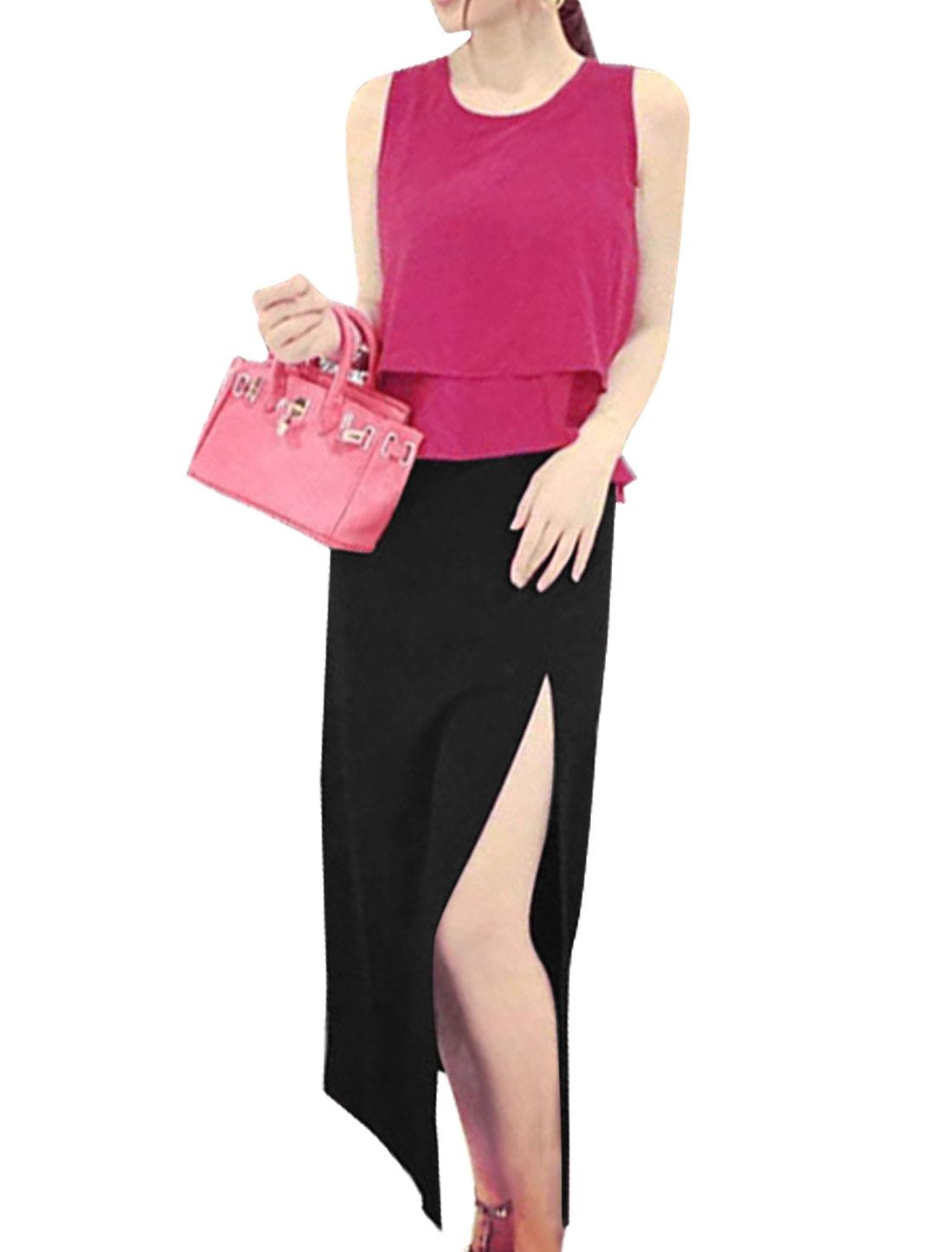 Ladies Layered Peplum Top w Mid Rise Split Side Skirt Set Fuchsia Black S