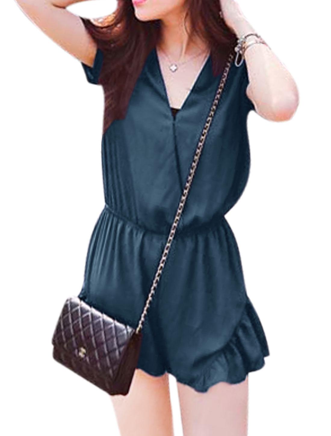 Women Short Sleeve Deep V Neck Elastic Waist Casual Romper Navy Blue XS