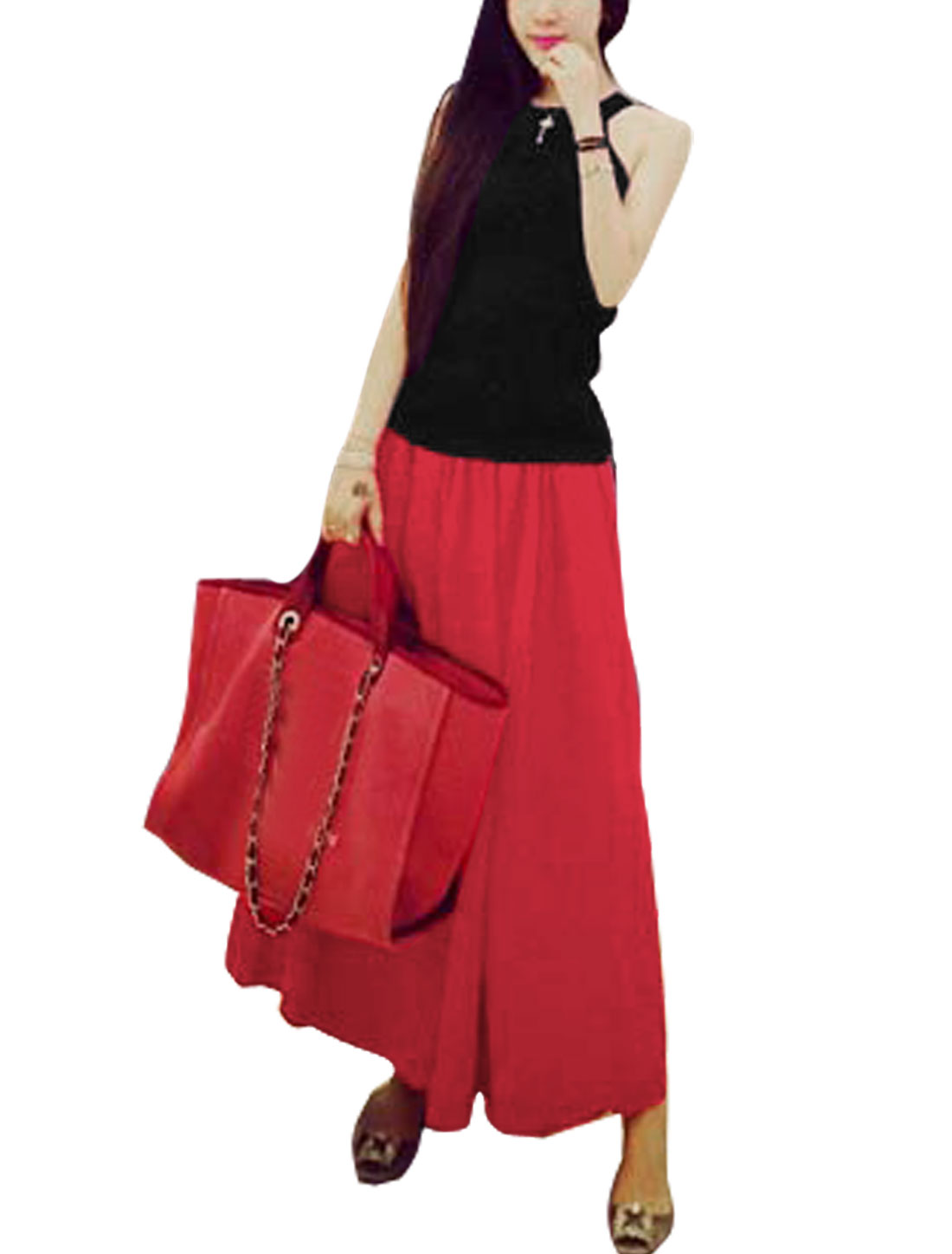 Women Halter Neck Sleeveless Casual Tops w Elastic Waist Long Skirt Black Red XS