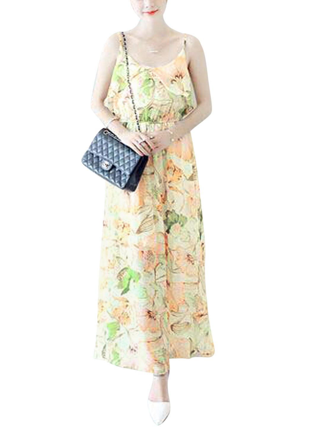 Woman Floral Prints Spaghetti Straps Scoop Neck Chiffon Maxi Dress Beige XS
