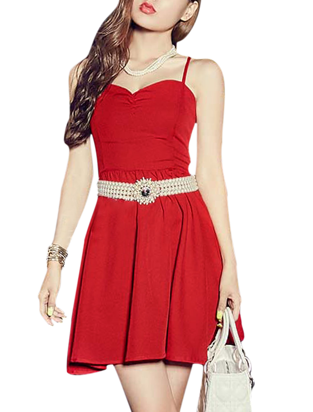 Ladies Sleeveless Sweetheart Neckline Spaghetti Strap Lace Up Back Dress Red XS