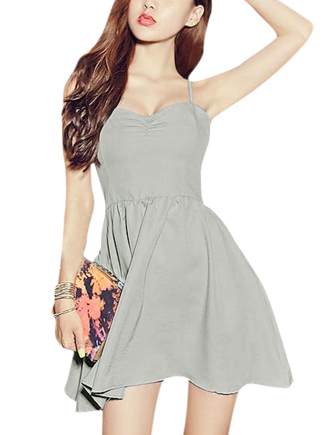 Women Sleeveless Sweetheart Neckline Lace Up Back Dress Light Gray XS