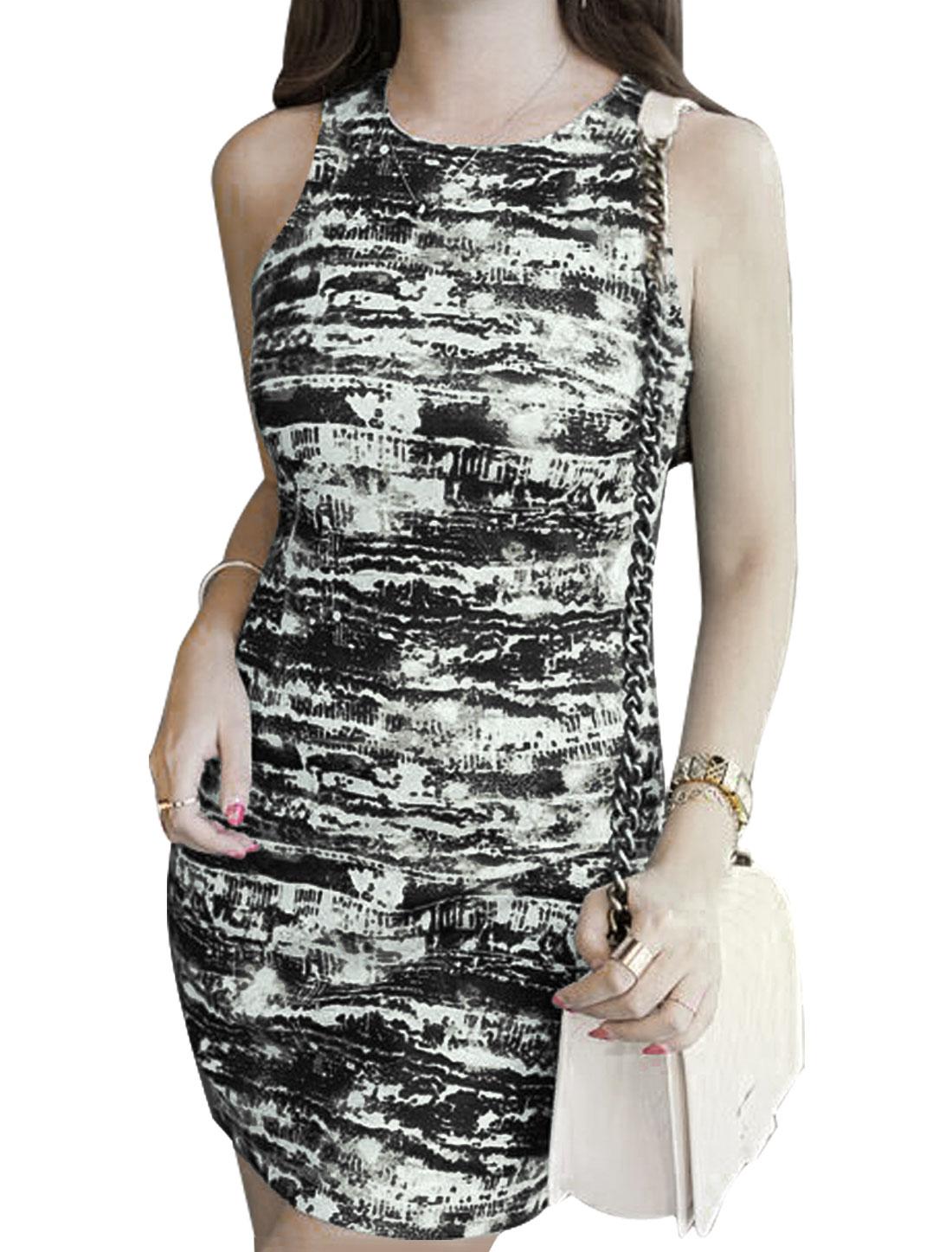 Woman Novelty Prints Halter Neck Sleeveless Unlined Sheath Dress Ebony M