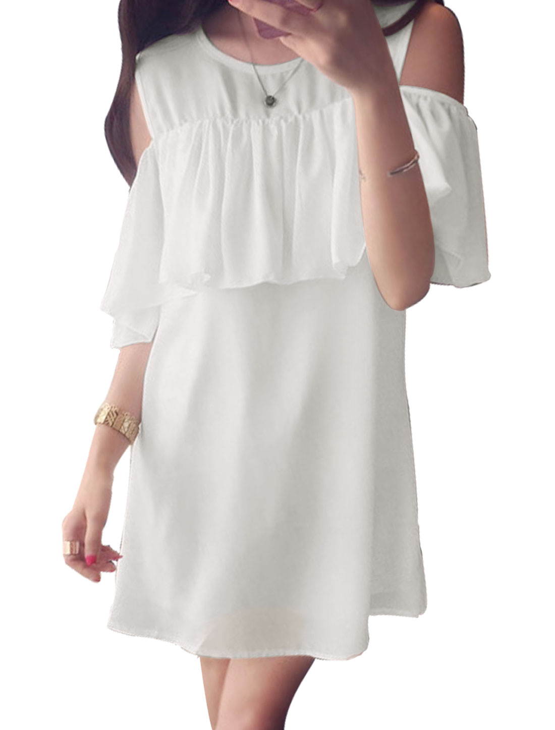 Ladies Sleeveless Round Neck Layered Fully Lined Casual Chiffon Dress White XS