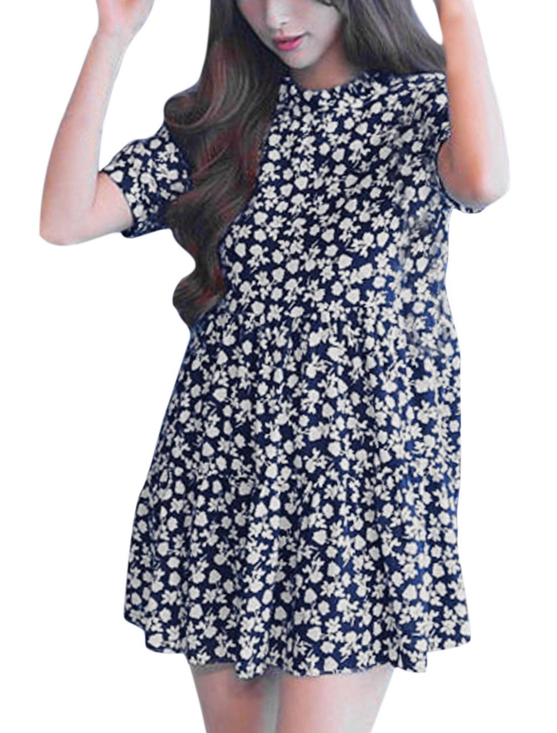 Woman Floral Prints Ruffled Collar Unlined Chiffon Dress Navy Blue XS