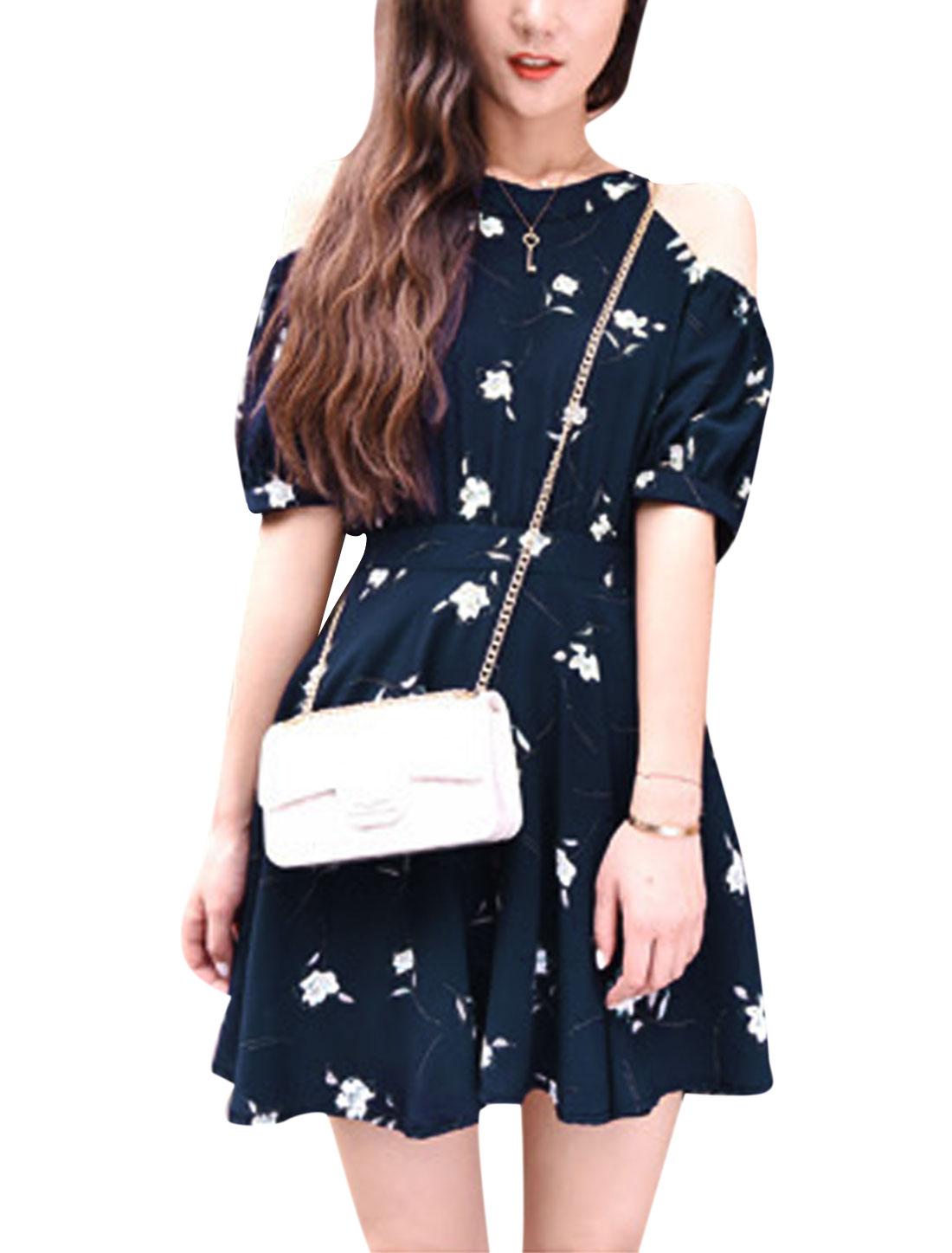 Woman Floral Prints Halter Neck Cut Out Shoulder Chiffon Dress Dark Blue XS