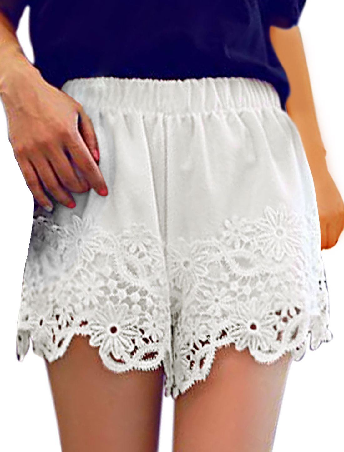 Woman Hollow Out Detail Crochet Design Elastic Waist Shorts White XS