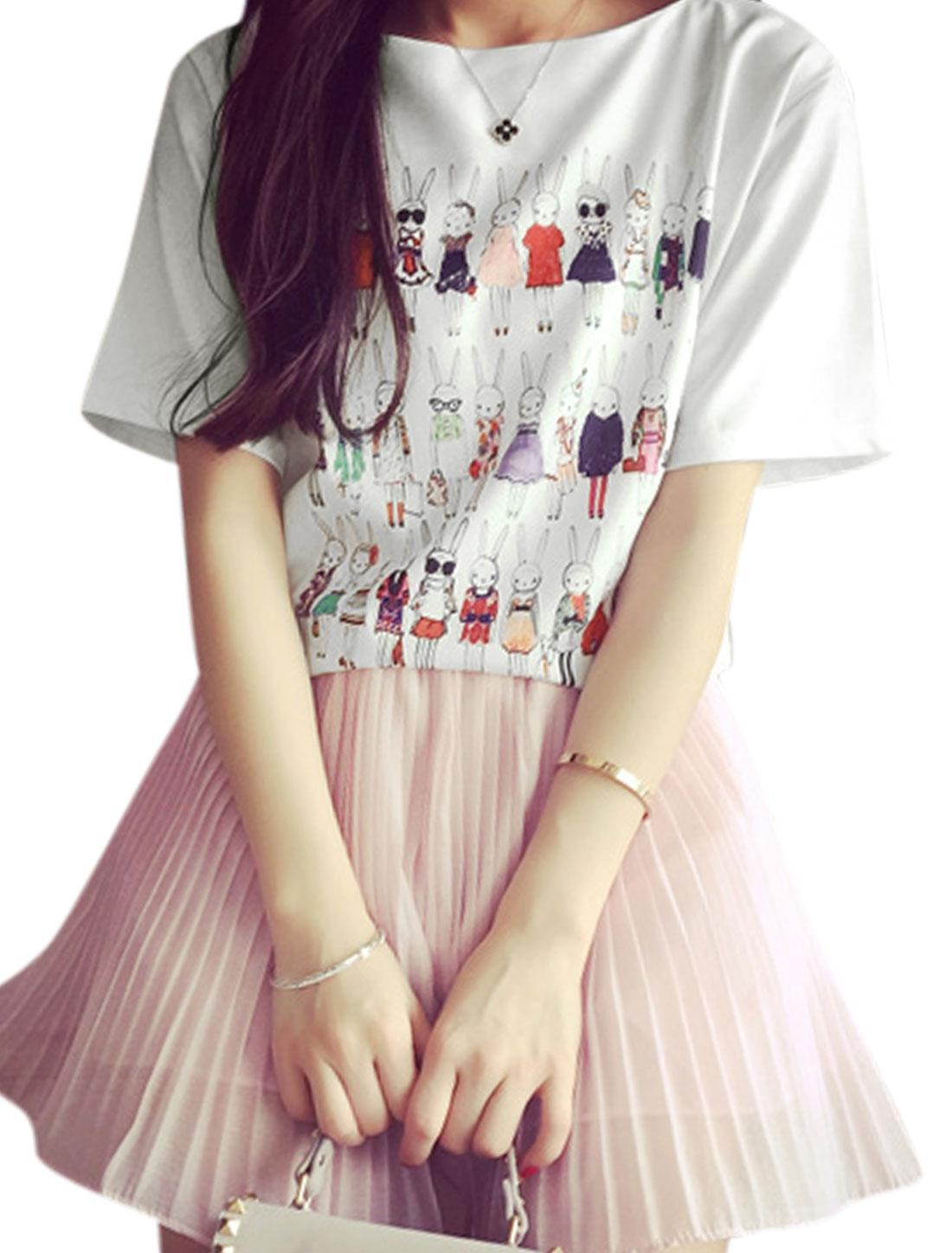 Woman Rabbit Pattern Round Neck Short Sleeves Chiffon Casual Tee White XS