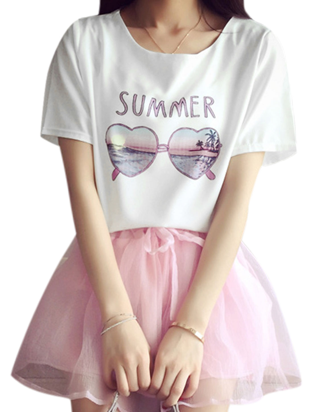 Woman Glasses Letters Prints Round Neck Short Sleeves Tee White XS