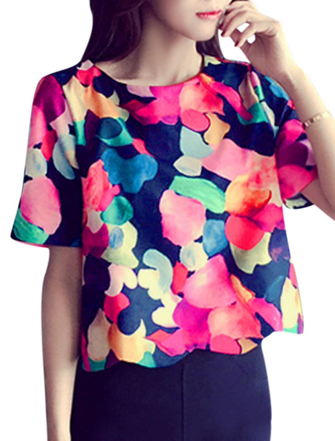 Woman Novelty Prints Short Sleeves Scalloped Hem Top Multicolor XS