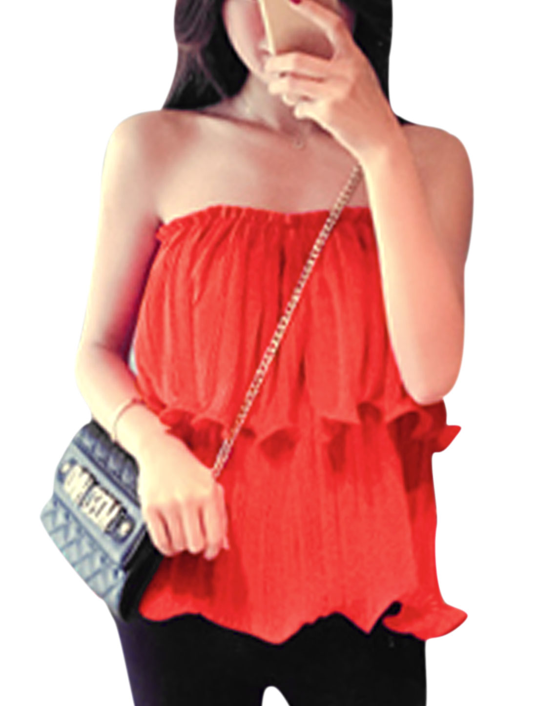 Lady Elastic Upper Strapless Pleated Layered Top Red XS
